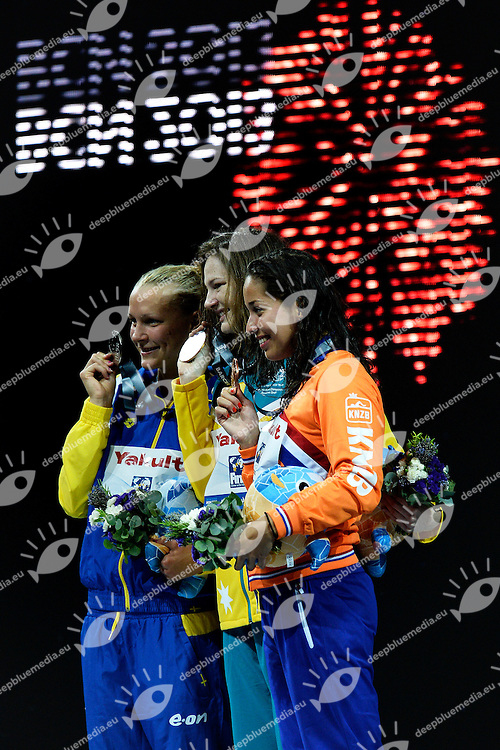 100 freestyle women<br /> SJOSTROM Sarah, Sweden SWE, silver medal<br /> CAMPBELL Cate, Australia AUS, gold medal<br /> KROMOWIDJOJO Ranomi, Netherlands NED, bronze medal <br /> Swimming - Nuoto <br /> Barcellona 2/8/2013 Palau St Jordi <br /> Barcelona 2013 15 Fina World Championships Aquatics <br /> Foto Andrea Staccioli Insidefoto