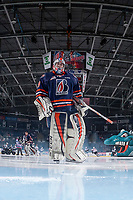 KELOWNA, CANADA - MARCH 31: Connor Ingram #39 of the Kamloops Blazers skates to the net at the start of the game against the Kelowna Rockets on March 31, 2017 at Prospera Place in Kelowna, British Columbia, Canada.  (Photo by Marissa Baecker/Shoot the Breeze)  *** Local Caption ***
