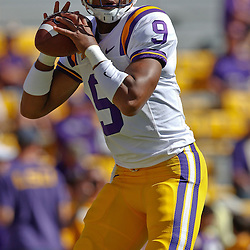October 1, 2011; Baton Rouge, LA, USA;  LSU Tigers quarterback Jordan Jefferson (9) prior to kickoff of a game against the Kentucky Wildcats at Tiger Stadium.  Mandatory Credit: Derick E. Hingle-US PRESSWIRE / © Derick E. Hingle 2011