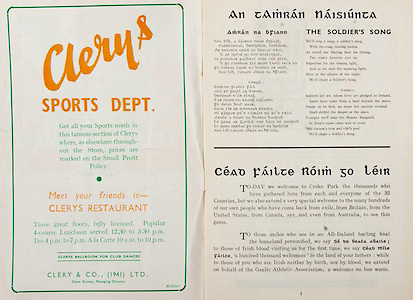 All Ireland Senior Hurling Championship Final,.Brochures,.04.09.1949, 09.04.1949, 4th September 1949, .Tipperary 3-11, Laois 0-3, .Minor Kilkenny v Tipperary, .Senior Tipperary v Laois, .Croke Park, ..Advertisements, Clery's Sports Dept, ..Songs, An Tamran Naisiunta, The Soldier's Song, Amran Na BFiann, ..Articles, Cead Failte Roim Go Leir,