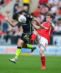 Ollie Clarke of Bristol Rovers battles for the ball with Matt Palmer of Rotherham United - Mandatory by-line: Alex James/JMP - 21/04/2018 - FOOTBALL - Aesseal New York Stadium - Rotherham, England - Rotherham United v Bristol Rovers - Sky Bet League One