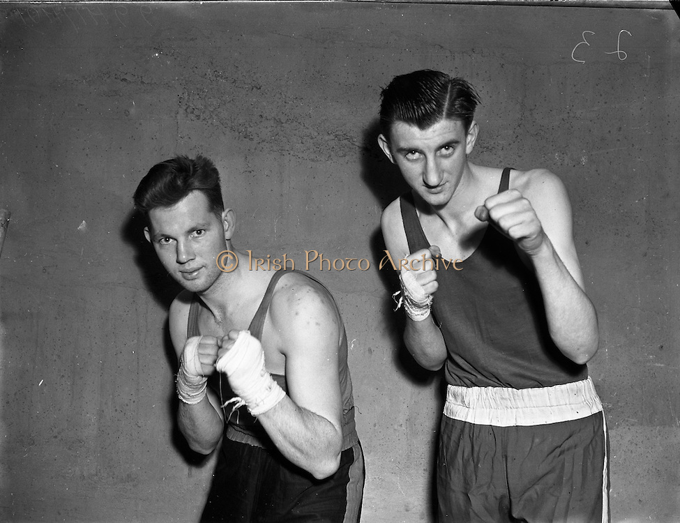 National Junior Boxing Championships.18/12/1952<br /> J. Griffin (Tipperary) (left), Middleweight winner.<br /> On right M. Hartnett (Mount Street) middleweight runner up.