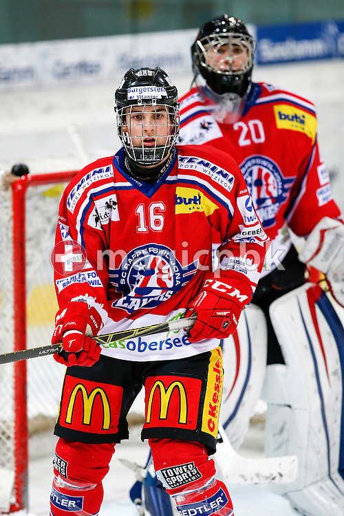 Rapperswil-Jona Lakers defenseman Riccardo AURIEMMA (front) is pictured during a Novizen Elite ice hockey game between Rapperswil-Jona Lakers and SC Bern Future held at the Diners Club Arena in Rapperswil, Switzerland, Saturday, Feb. 6, 2016. (Photo by Patrick B. Kraemer / MAGICPBK)