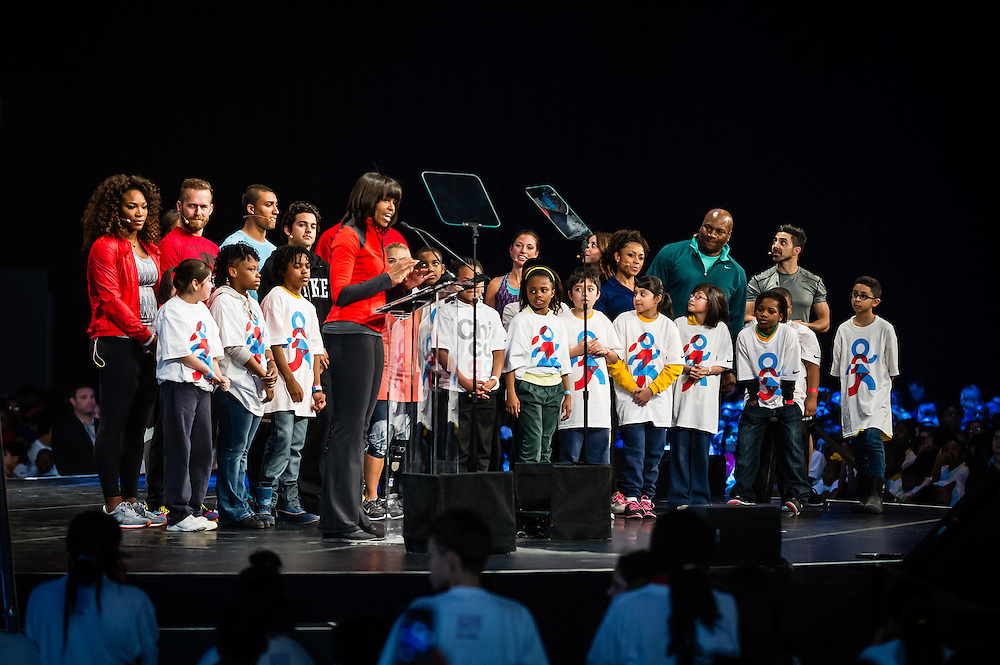 First Lady Michelle Obama with students and athletes at the 2013 Let's Move event held at Chicago's McCormick Place.