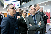 14 NOV 2018, POTSDAM/GERMANY:<br /> Heiko Maas, SPD, Bundesaussenminister, Michelle Muentefering, SPD, Staatsministerin im Auswaertigen Amt, und Michael Roth; SPD, Staatsminister im Auswaertigen Amt, (v.L.n.R.), waehrend einer Praesentation des HPI im Rahmen der Klausurtagung des Bundeskabinetts, Hasso Plattner Institut (HPI), Potsdam-Babelsberg<br /> IMAGE: 20181114-01-072<br /> KEYWORDS; Kabinett, Klausur, Tagung, Michelle Müntefering