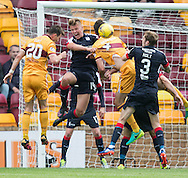 Dundee&rsquo;s Mark O&rsquo;Hara heads clear - Motherwell v Dundee in the Ladbrokes Scottish Premiership at Fir Park, Motherwell. Photo: David Young<br /> <br />  - &copy; David Young - www.davidyoungphoto.co.uk - email: davidyoungphoto@gmail.com