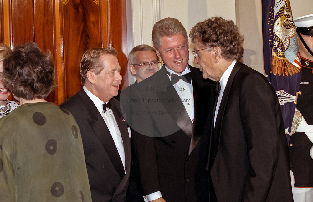 U.S President Bill Clinton and Czech President Vaclav Havel greet author Kurt Vonnegut, right, in the State Dinner receiving line in honor of Havel at the White House September 16, 1998 in Washington, DC.