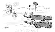 """""""They look disgusting, but they're very good for you."""" (cartoon showing two hungry crocodiles watching a couple of tourists on a safari holiday)"""