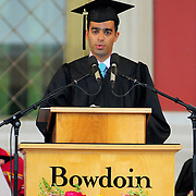 5/23/09 -- BRUNSWICK, Maine. Ian Fisher Yaffe, winner of Bowdoin's Goodwin Commencement Prize, speaks to the crowd at the college's 204th Commencement ceremonies on Sunday.  449 students from around the world graduated from college - including 51 from Maine.  .The college awarded honorary doctorates to Dramatist Edward Albee; Visual Artist Stephen Hannock - Bowdoin class of 1974; Breast Cancer Scientist Olufunmilayo Olopade; Human Rights activist and lawyer Kenneth Roth; and Inuit rights and climate activist Shiela Watt-Cloutier.  Photo by Roger S. Duncan.