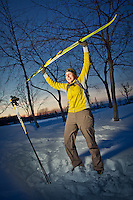 Aubrey Morrison celebrates her first ski of the season at the end of a beautiful day at Westchester Lagoon, Anchorage