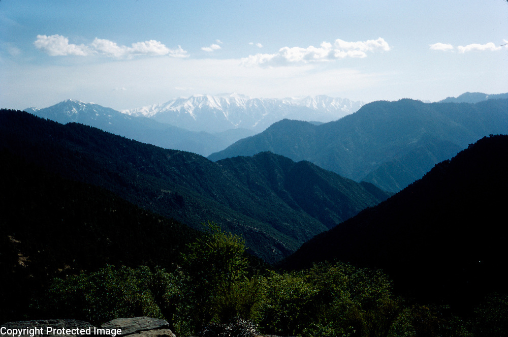 Late Summer? 1965<br /> Mountains to the north. Four ridges with snow-capped mountain in background.