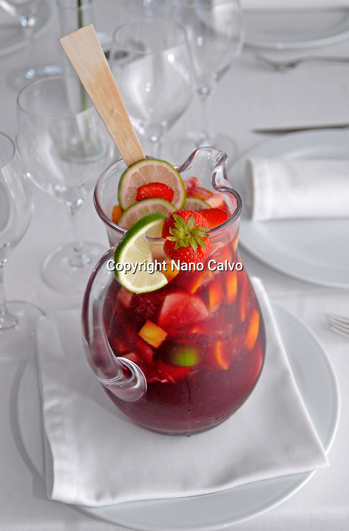 Typical spanish drink, Sangria, made of wine, fruit, brandy or other liquour