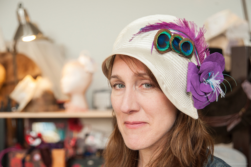 Sarah Havens of Sarah Havens Millinery with work in her studio in the Hope Worsted Mills building, photographed Thursday, April 4, 2012 in Louisville, Ky. (Photo by Brian Bohannon)