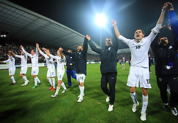 Slovenian players Darijan Matic (15), Bostjan Cesar (5), Valter Birsa (10), Andraz Kirm (17), Andrej Komac (3), Zlatko Dedic (14), Mitja Morec (6), Branko Ilic (18) celebrate at the fourth round qualification game of 2010 FIFA WORLD CUP SOUTH AFRICA in Group 3 between Slovenia and Northern Ireland at Stadion Ljudski vrt, on October 11, 2008, in Maribor, Slovenia.  (Photo by Vid Ponikvar / Sportal Images)