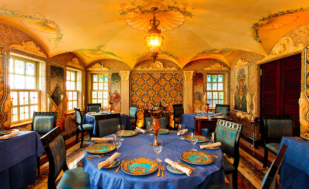 The spectacular dining room of the former Gianni Versace mansion, now a hotel, on South Beach's Ocean Drive.