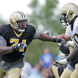 04 August 2009: New Orleans Saints defensive tackle Kendrick Clancy (71) works against offensive tackle Jammal Brown (70) during New Orleans Saints training camp at the team's practice facility in Metairie, Louisiana.