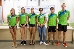 Anita Horvat, Agata Zupin, Marusa Cernulj, Martina Ratej, Rok Puhar and Luka Janezic at press conference of Athletic association Slovenia before IAAF World Championship London 2017 on August 2, 2017, Ljubljana, Slovenia. Photo by Urban Urbanc / Sportida