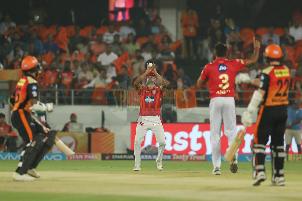 Ravichandran Ashwin of the Kings XI Punjab takes the catch to dismiss Kane Williamson of the Sunrisers Hyderabad during match twenty five of the Vivo Indian Premier League 2018 (IPL 2018) between the Sunrisers Hyderabad and the Kings XI Punjab  held at the Rajiv Gandhi International Cricket Stadium in Hyderabad on the 26th April 2018.<br /> <br /> Photo by: Ron Gaunt /SPORTZPICS for BCCI