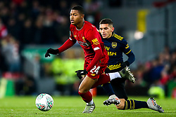 Rhian Brewster of Liverpool takes on Lucas Torreira of Arsenal - Mandatory by-line: Robbie Stephenson/JMP - 30/10/2019 - FOOTBALL - Anfield - Liverpool, England - Liverpool v Arsenal - Carabao Cup