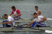Hazewinkel, BELGIUM, Toby Garbett (L) and Stephen Williams,  slump exhausted over their oars, after coming second to James Cracknell and Matthew Pinsent (background)  in the British International spring pairs trial. [Mandatory Credit; Peter Spurrier/Intersport Images] 200104  GB Rowing Senior Trails, Hazewinkel BELGIUM