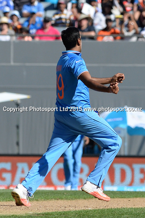 Indian bowler Ravichandran Ashwin celebrates the wicket of Sean Williams during the ICC Cricket World Cup match between India and Zimbabwe at Eden Park in Auckland, New Zealand. Saturday 14 March 2015. Copyright Photo: Raghavan Venugopal / www.photosport.co.nz