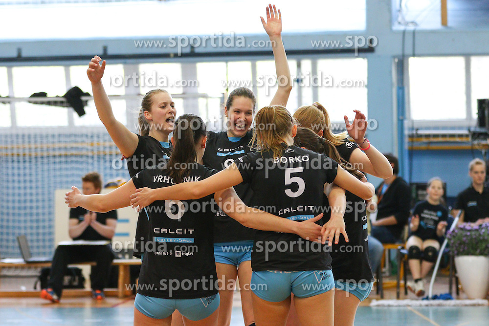 Players of Calcit Kamnik celebrate during volleyball game between Calcit Kamnik and Nova KBM Branik in 4th leg of Finals of Slovenian National Championship 2015, on April 14, 2015 in Sportna dvorana, Kamnik, Slovenia. Photo by Matic Klansek Velej / Sportida