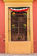 Ornate window on the Alcala in the historic district Oaxaca, Mexico.