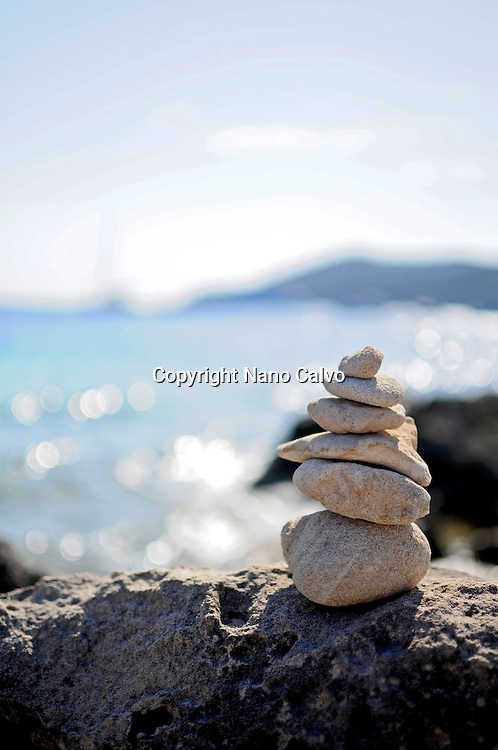 Stone sculptures in Salinas Beach, Ibiza
