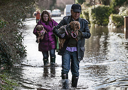 Floods in Wraysbury. Residents living in Wraysbury area trying to cope with the floods, United Kingdom,  Monday, 10th February 2014. Picture by Daniel Leal-Olivas / i-Images