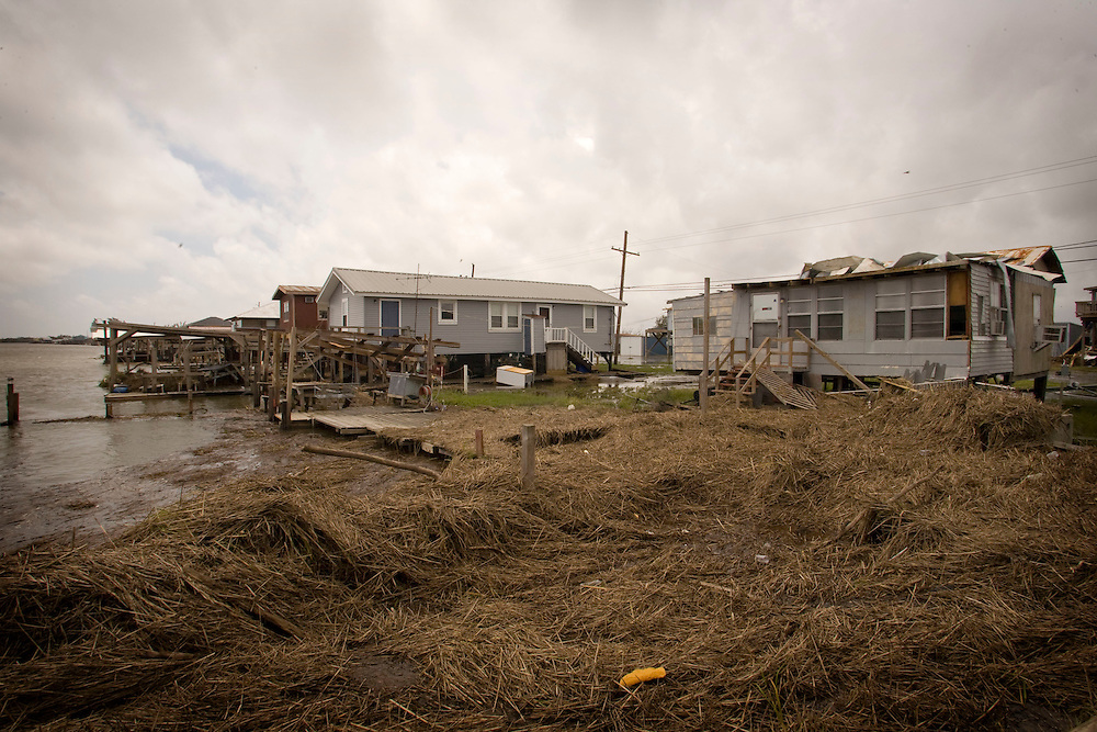 The damage left from Hurricane Gustav September 3, 2008 in Cocodria, Louisiana. Cocodrie on the southern tip of Louisiana was the right at the center place where Hurricane Gustav made landfall.