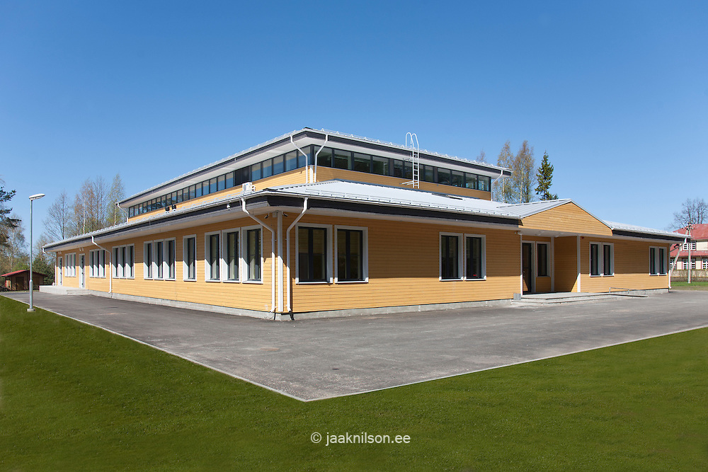 Modern wooden building of basic school in Metsapoole, Estonia.<br />
