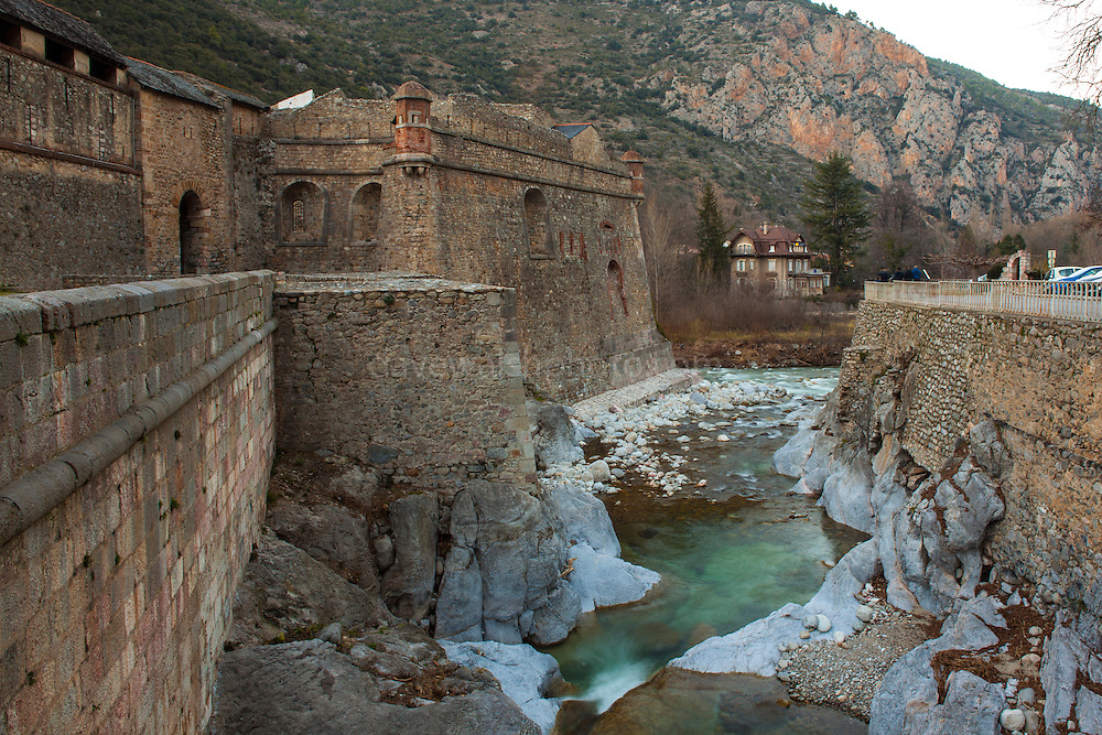 Villefranche-de-Conflent, a Vauban-designed fortified town at the confluence of the rivers Tet & Cady in the Pyrenees Orientales, France.