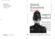 "Recent commission for British Journalism Review. Policeman with ""Police Line Do Not Cross"" barrier tape over mouth."