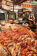Chatuchak Weekend Market food vendor stall; Bangkok, Thailand. (Largest market in Thailand).