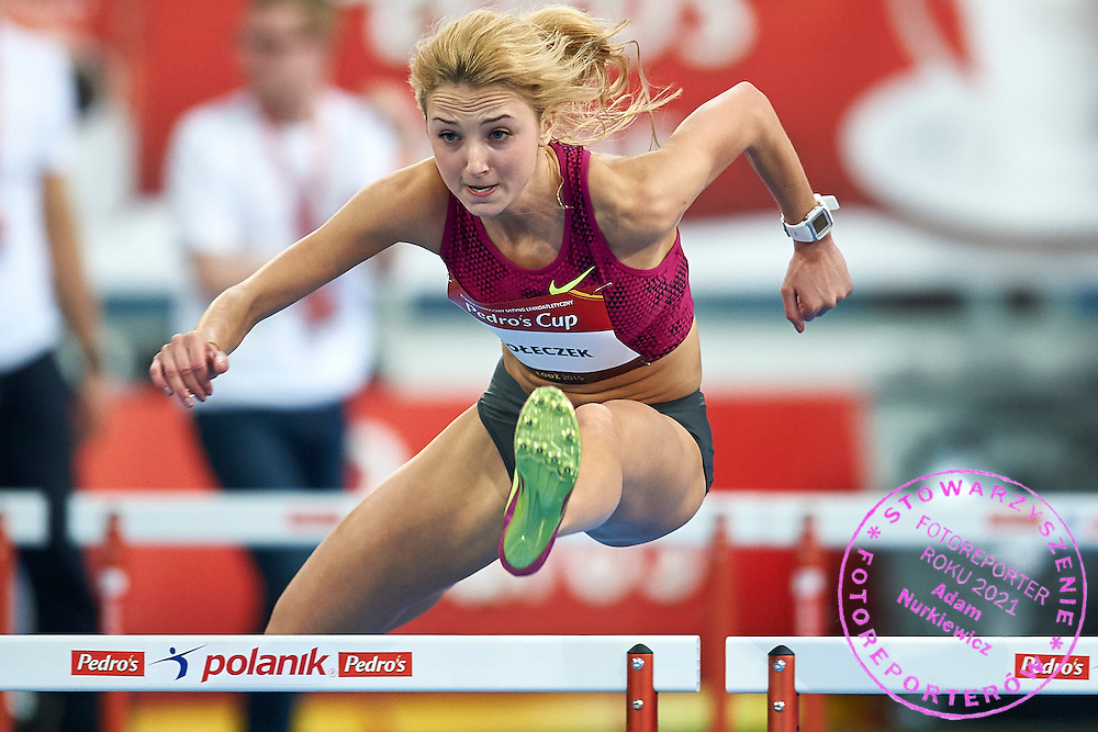 Karolina Koleczek from Poland competes in women's 60 meters hurdles competition during athletics meeting Pedro's Cup at Atlas Arena in Lodz, Poland.<br /> <br /> Poland, Lodz, February 17, 2015<br /> <br /> Picture also available in RAW (NEF) or TIFF format on special request.<br /> <br /> For editorial use only. Any commercial or promotional use requires permission.<br /> <br /> Adam Nurkiewicz declares that he has no rights to the image of people at the photographs of his authorship.<br /> <br /> Mandatory credit:<br /> Photo by &copy; Adam Nurkiewicz / Mediasport