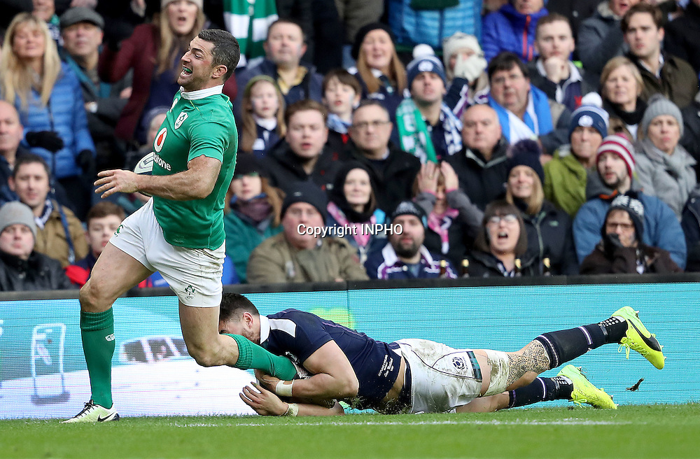 RBS 6 Nations Championship Round 1, BT Murrayfield, Scotland 4/2/2017<br /> Scotland vs Ireland<br /> Ireland's Rob Kearney is tackled into touch by Sean Maitland of Scotland <br /> Mandatory Credit &copy;INPHO/Dan Sheridan