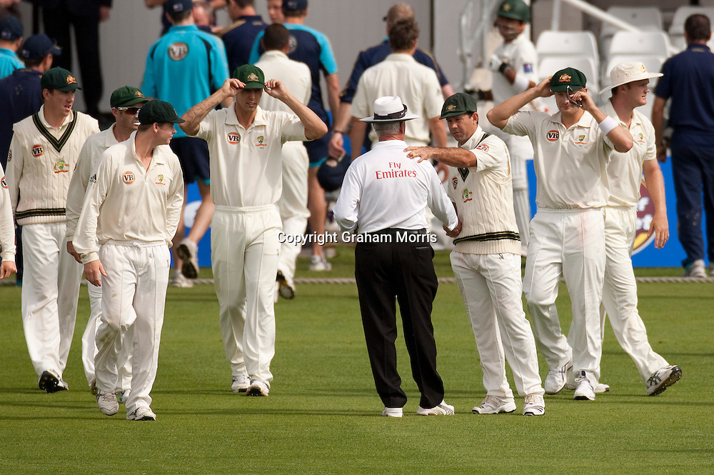 Captain Ricky Ponting says farewell to retiring umpire Rudi Koertzen before losing the second MCC Spirit of Cricket Test Match between Pakistan and Australia at Headingley, Leeds.  Photo: Graham Morris (Tel: +44(0)20 8969 4192 Email: sales@cricketpix.com) 24/07/10