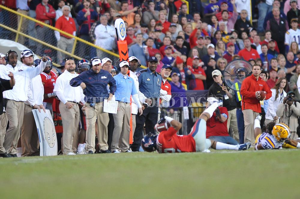 Ole Miss wide receiver Donte Moncrief (12) makes a catch vs. LSU cornerback Jalen Collins (32) at Tiger Stadium in Baton Rouge, La. on Saturday, November 17, 2012. LSU won 41-35.....