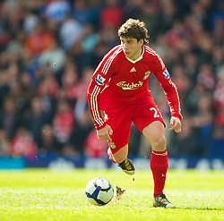 BIRMINGHAM, ENGLAND - Sunday, April 4, 2010: Liverpool's Emiliano Insua in action against Birmingham City during the Premiership match at St Andrews. (Photo by David Rawcliffe/Propaganda)