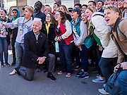 """04 DECEMBER 2019 - AMES, IOWA: Former Vice President JOE BIDEN with students at Iowa State University after his campaign event in Ames Wednesday. Vice President Biden is touring Iowa this week on his """"No Malarkey"""" bus tour. Iowa hosts the first presidential selection event of the 2020 election cycle. The Iowa caucuses are on February 3, 2020.      PHOTO BY JACK KURTZ"""