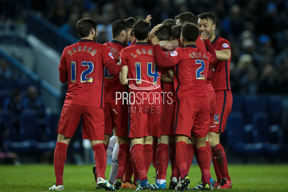 The Blackburn Rovers celebrate scoring the opening goal. Craig Conway (Blackburn Rovers) is engulfed by his team mates during the Sky Bet Championship match between Sheffield Wednesday and Blackburn Rovers at Hillsborough, Sheffield, England on 5 April 2016. Photo by Mark P Doherty.