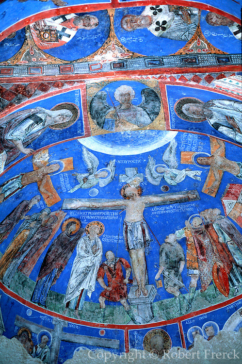 TURKEY, CENTRAL ANATOLIA, CAPPADOCIA Goreme Museum, eroded landscape with rockcut Byzantine churches, largest is the Tokali Kilise, 9-10thC.