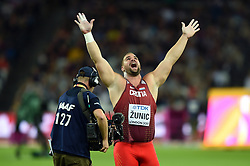 Stipe Zunic of Croatia celebrates winning bronze - Mandatory byline: Patrick Khachfe/JMP - 07966 386802 - 06/08/2017 - ATHLETICS - London Stadium - London, England - Men's Shot Put Final - IAAF World Championships