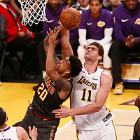 07 January 2018: Atlanta Hawks forward John Collins (20) is blocked by Los Angeles Lakers center Brook Lopez (11) during the LA Lakers 132-113 victory over the Atlanta Hawks, at the Staples Center, Los Angeles, California, USA.