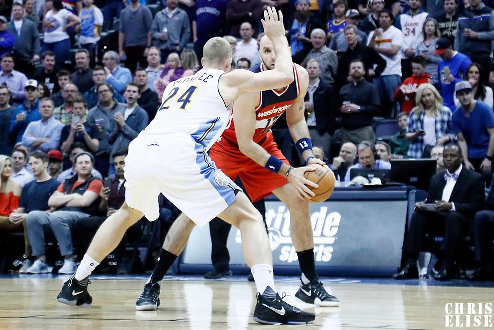 08 March 2017: Denver Nuggets center Mason Plumlee (24) defends on Washington Wizards center Marcin Gortat (13) during the Washington Wizards 123-113 victory over the Denver Nuggets, at the Pepsi Center, Denver, Colorado, USA.