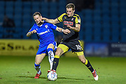 Gillingham FC midfielder Mark Byrne (33) and Rotherham United defender Ben Purrington (18) during the EFL Sky Bet League 1 match between Gillingham and Rotherham United at the MEMS Priestfield Stadium, Gillingham, England on 17 April 2018. Picture by Martin Cole.