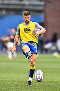 Cardiff Blues' Lewis Jones during the pre match warm up<br /> <br /> Photographer Craig Thomas/Replay Images<br /> <br /> European Rugby Challenge Cup Round Semi final - Cardiff Blues v Pau - Saturday 21st April 2018 - Cardiff Arms Park - Cardiff<br /> <br /> World Copyright &copy; Replay Images . All rights reserved. info@replayimages.co.uk - http://replayimages.co.uk