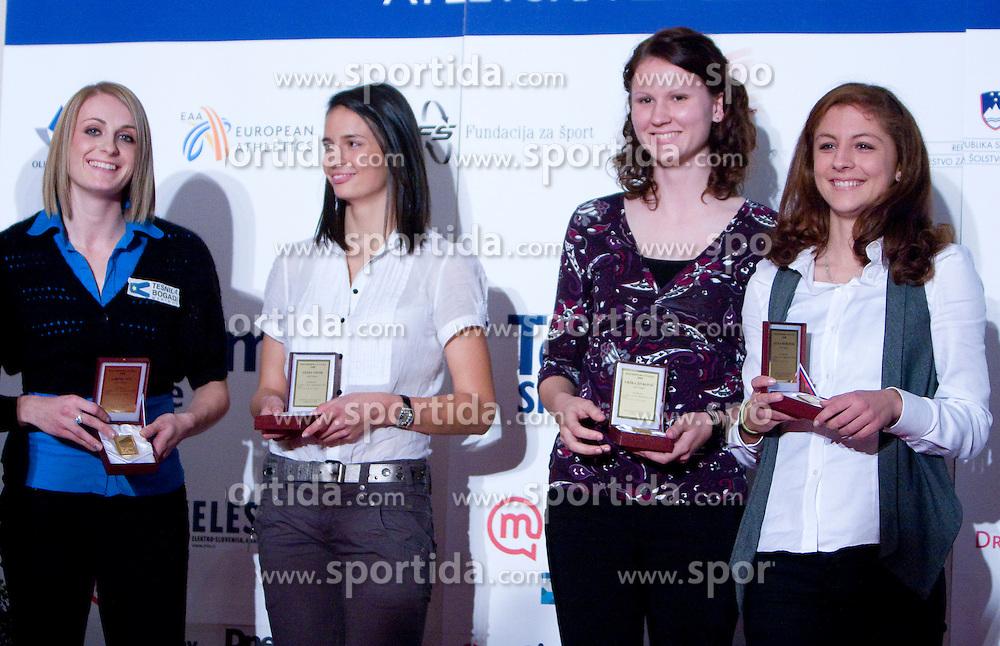 Sabina Veit, Vesna Vivod, Urska Zivkovic and Liona Rebernik of AK Poljane at Best Slovenian athlete of the year ceremony, on November 15, 2008 in Hotel Lev, Ljubljana, Slovenia. (Photo by Vid Ponikvar / Sportida)