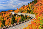 Autumn foliage at Linn Cove Viaduct, located along the Blue Ridge Parkway near Blowing Rock, North Carolina