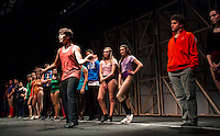 """""""Mark"""" Cody Hodgins auditions in the """"Chorus Line"""" at Gilford High School at dress rehearsal on Wednesday evening.  (Karen Bobotas/for the Laconia Daily Sun)"""